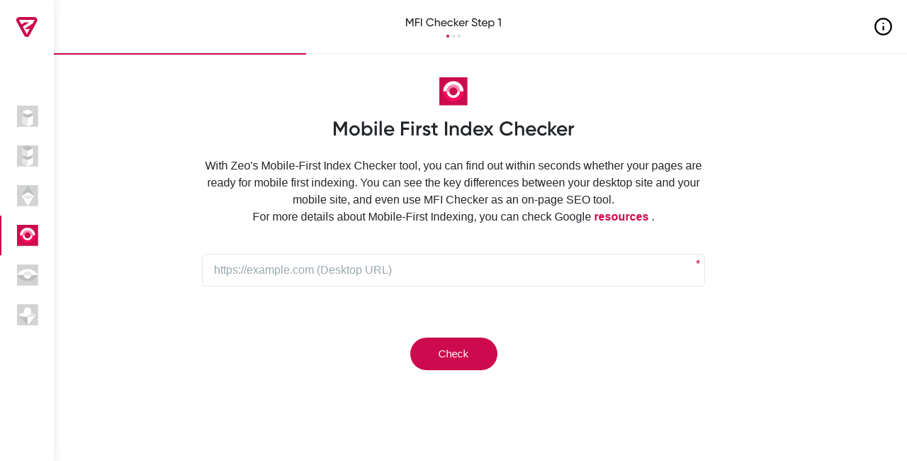 Mobile First Indexing Test Tool Screenshot